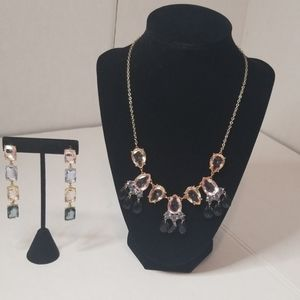 2 FOR 15 Earring Necklace Set Colored Jewels